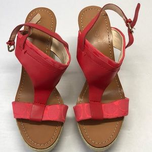 Coach Mendez Women's Red Melon Leather Cork Wedges